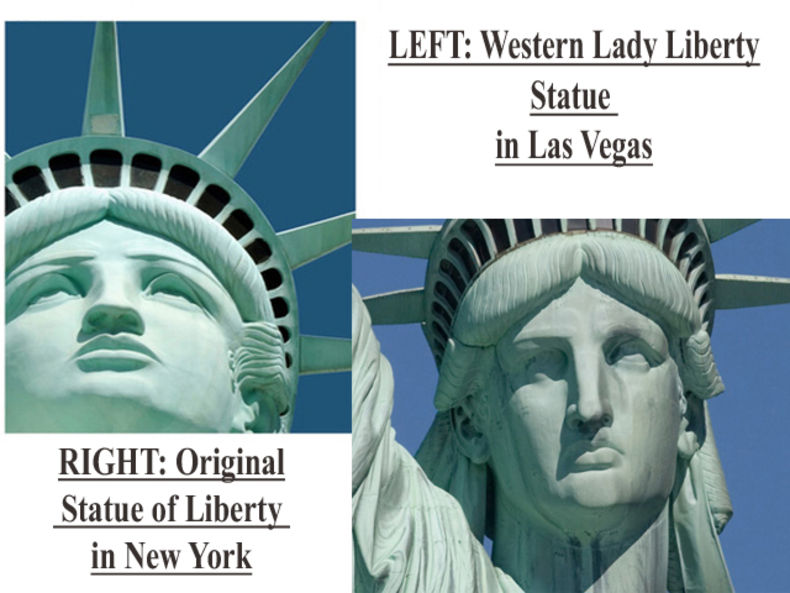Shot of Western Lady Liberty statue in Las Vegas and original Statue of Liberty in New York