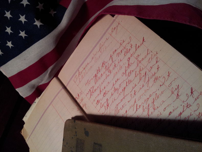 Closeup of a 17-year old sailor's faded journal from World War II
