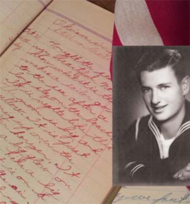 photo of a young sailor and his faded journal from World War II