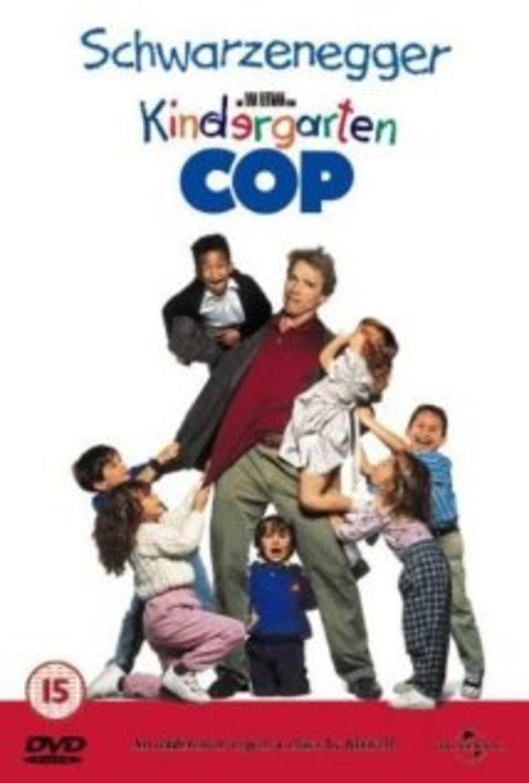 "Poster for the movie ""Kindergarten Cop"", starring Arnold Schwarznegger"
