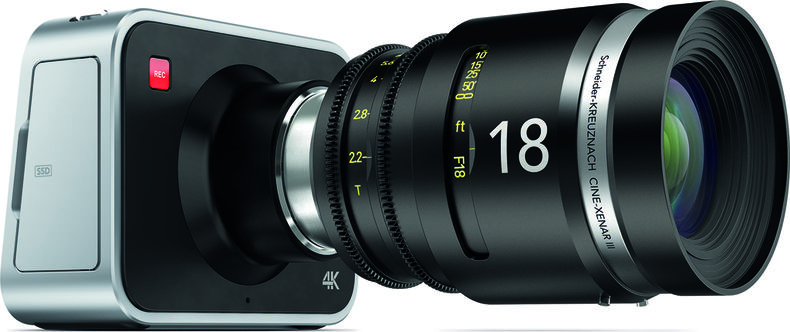 Streamlined camera with a large cinematic lens