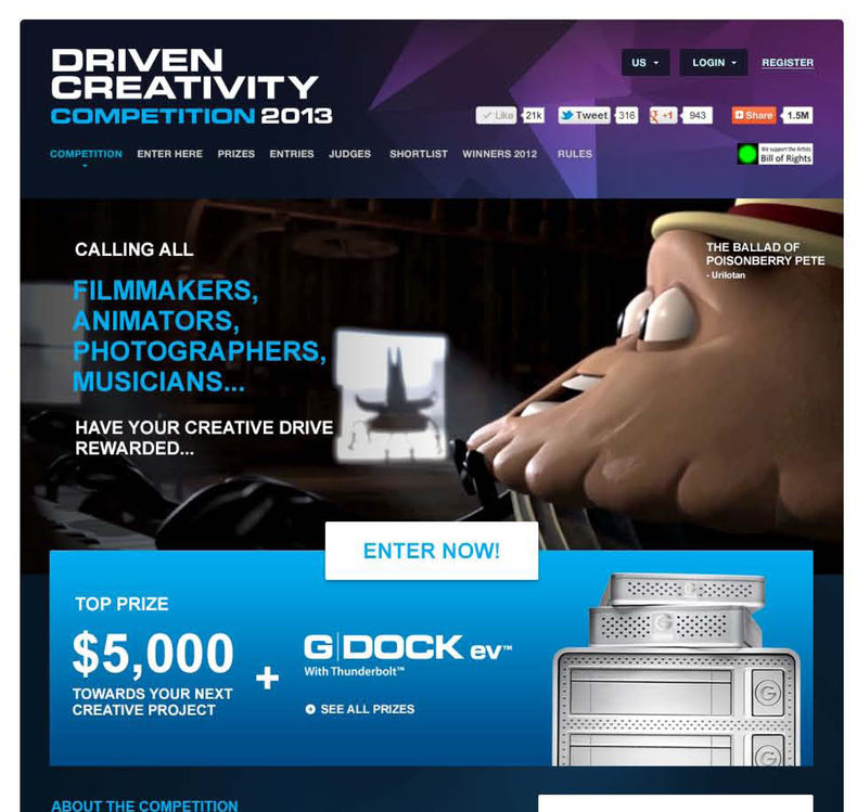 "G-Technology home page with ""Driven Creativity"" information"