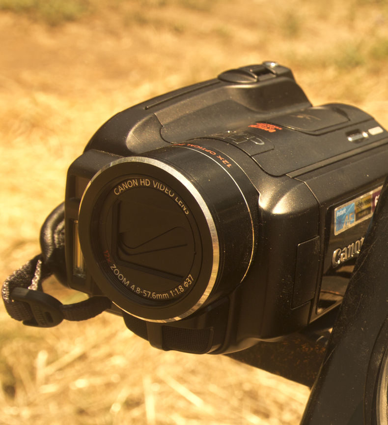 shot of a camcorder with yellow/orange filter