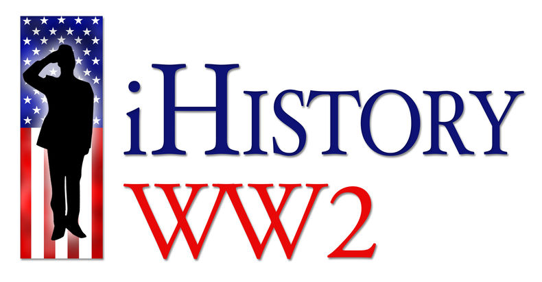 Logo of the iHistory WW2 banner with a saluting soldier on an American flag background