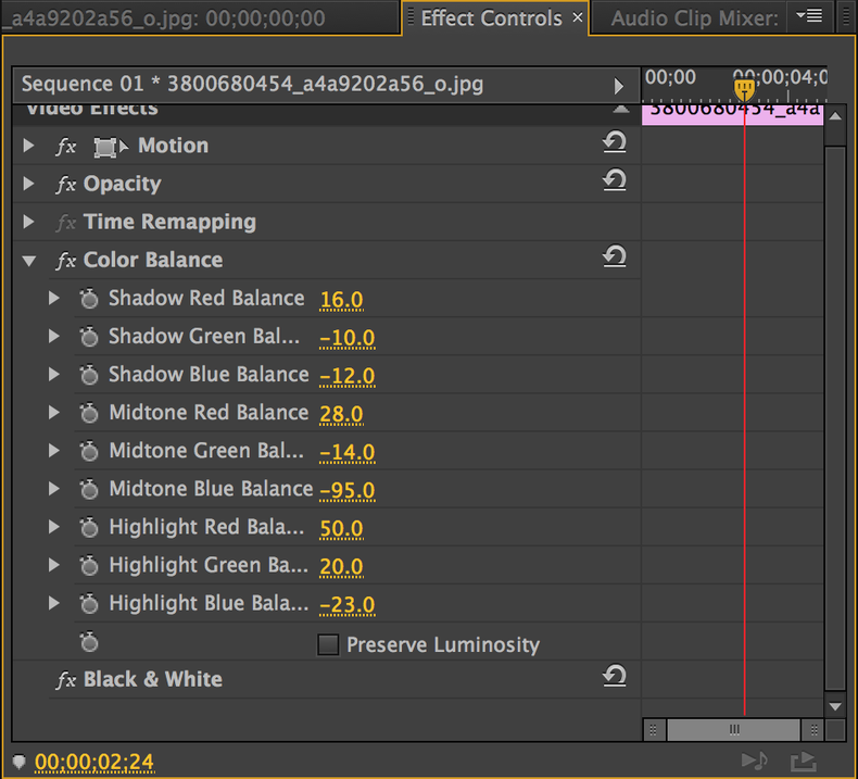 Color Balance and Black and White effects in Adobe Premiere CC