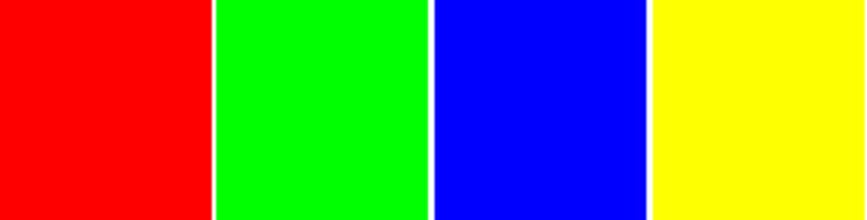 Red, green, blue, yellow