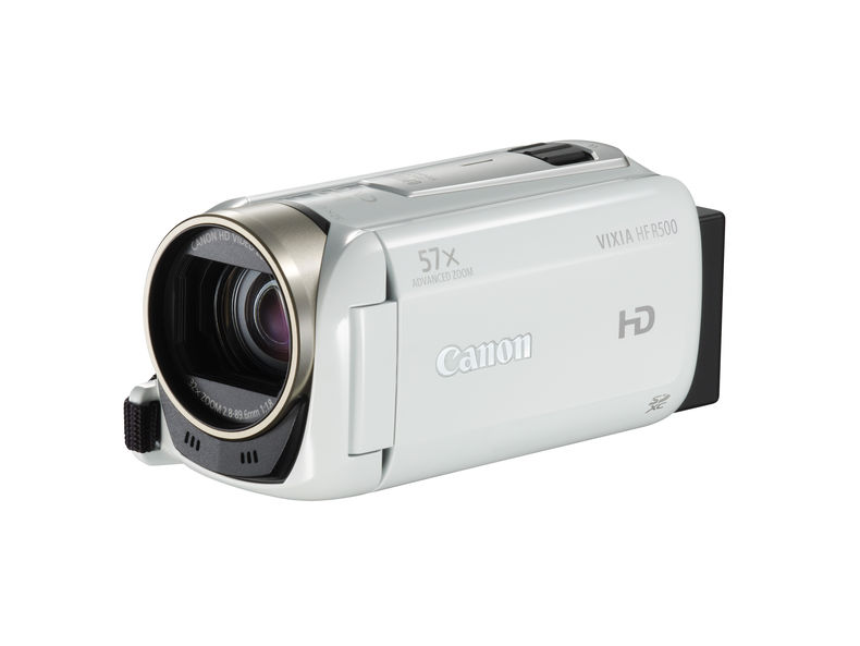 white camcorder facing left