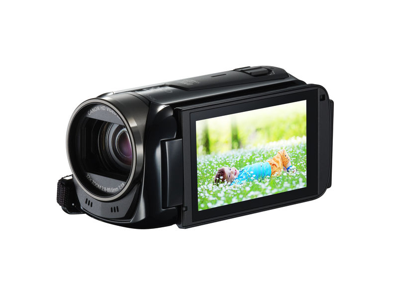 Camcorder with flipped back touch LCD display