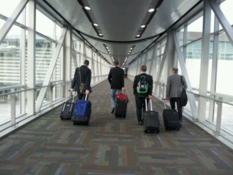 Videomaker Editors walk towards CES with rollerbags