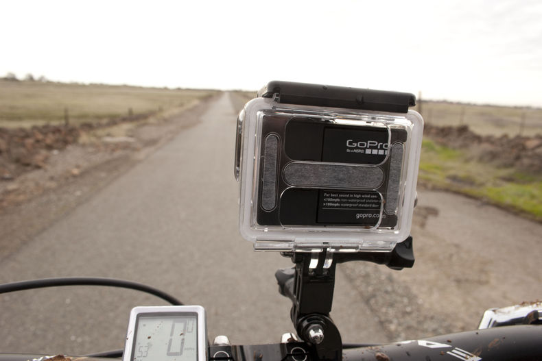 shot of a GoPro camera attached to a bike