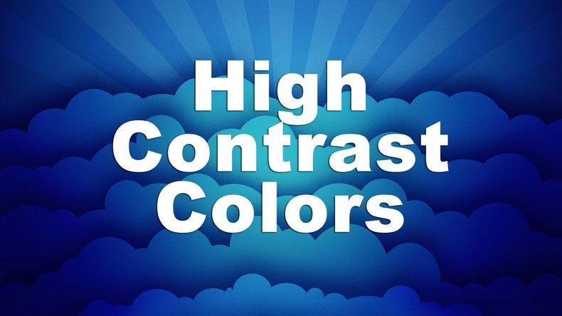 High contrast colors... graphic of dark blue clouds with a bright white font