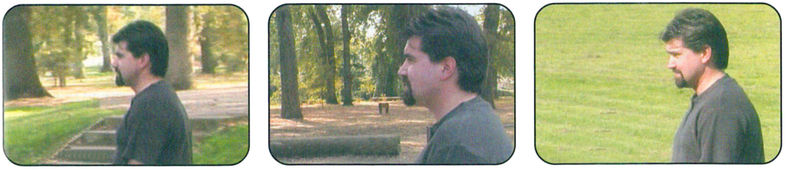 example of  someone appearing to be walking in the same direction in three shots in a scene
