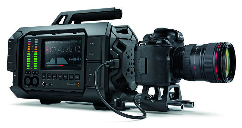 Large camera with side meters and a DSLR in front