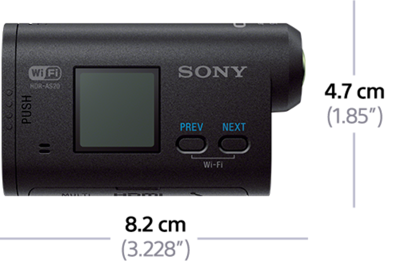Sony Action Cam HDR-AS20 - Side Profile