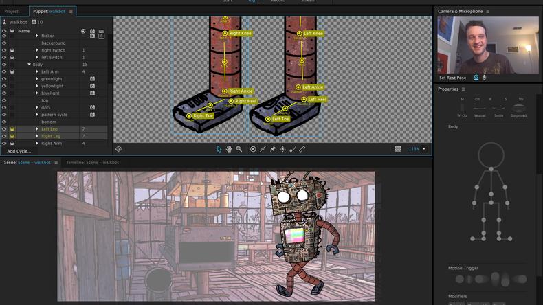 Image of Character Animator in Adobe's Character Animator