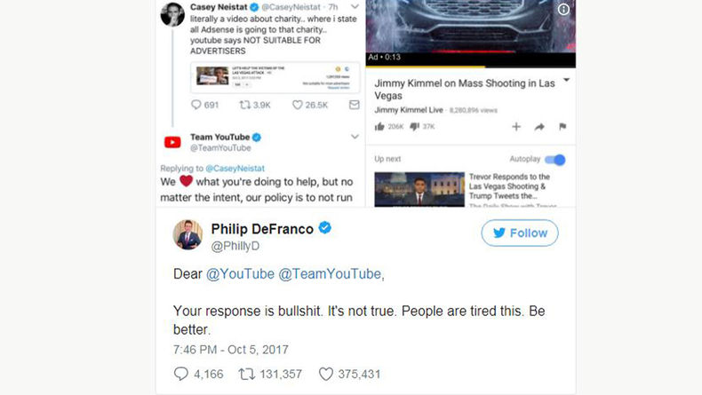 Image of tweets from Casey Neista, YouTube and Philip DeFranco