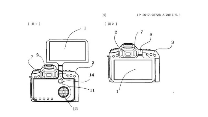 Diagram showing Canon's patented DSLR's flip screen