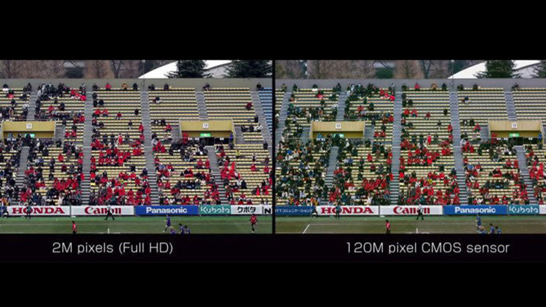 Comparison shot of the 120MXS against Full HD