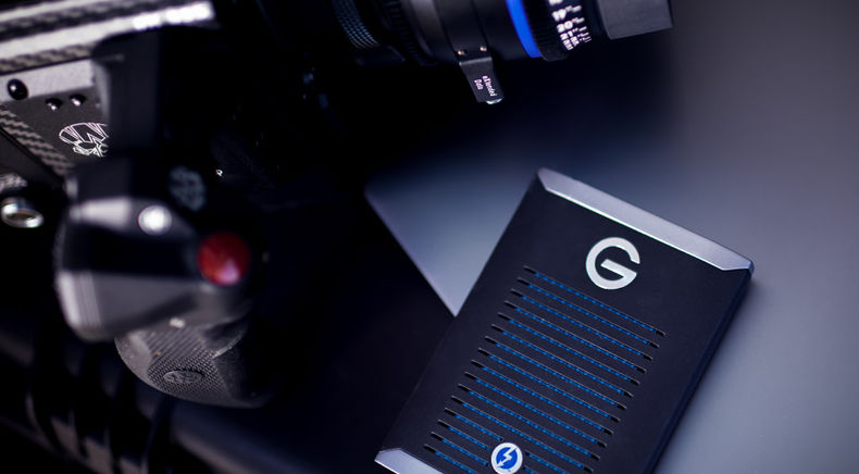G-Technology G-DRIVE Mobile Pro SSD with production gear