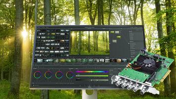 DeckLink 8K Pro over computer and forest background