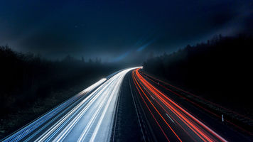 Image of roads with blurred streaks of light