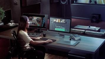 A editor working in DaVinci Resolve