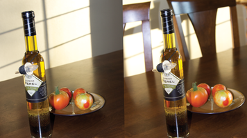 Side by side image with an olive bottle and plate of tomatoes on a table. One image has a busy background.