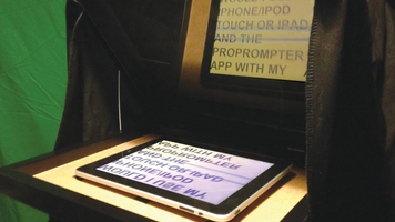 Shot of DIY Tablet Teleprompter in use.