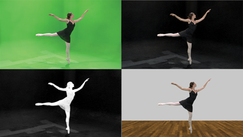 Composite image of 4 steps in chroma key work.