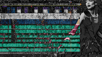 "Editing Interface superimposed on image of horror movie female ""victim."""