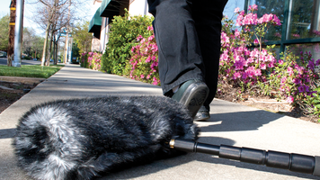 Image of shotgun mic on the ground and person walking away.