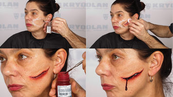 Montage of a person having prosthetic makeup applied to mimic a knife slash.