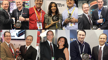 Photos of CES Spotlight award winners holding trophies and shaking hands