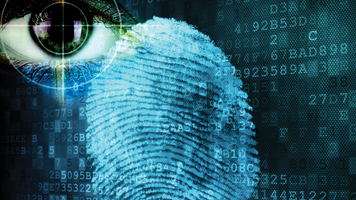 Futuristic montage of an eyeball, thumbprint and computer text on a screen