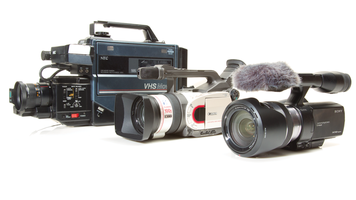Picture of a series of different era camcorders