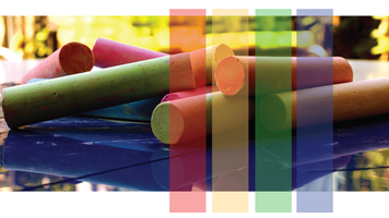 Colorful image of chalk and color bars.