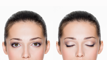 Woman with eyes open and closed. Photos courtesy of Shutterstock - http://www.shutterstock.com/pic.mhtml?id=127767530&src=id
