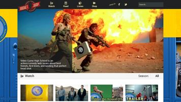 webpage screenshot of two guys with military gear and a large explosion