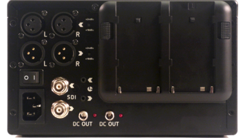 Rear of an Atomos Ronin - box with jacks for XLR and two battery slots