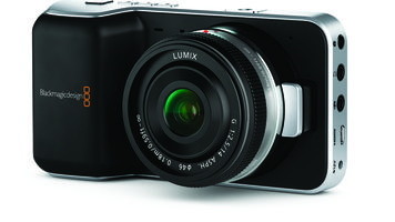 Pocket camera with a thin lens attached and jacks on the side