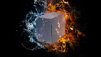 Burning image of an ioSafe drive on fire