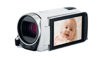 white camcorder with screen flipped around