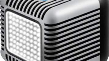 Lume Cube Light - Small grey and black cube with light on front.