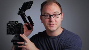 Caleb Pike next to camera rig