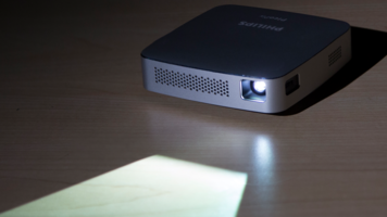 Philips PPX5110 PicoPix Mobile Projector on desk