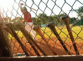 sports-baseball-bats-on-field