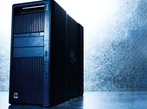 Stylized image of HP Z820 on metallic background.