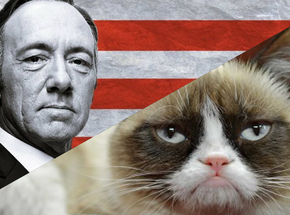 Images from House of Cards and Grumpy Cat