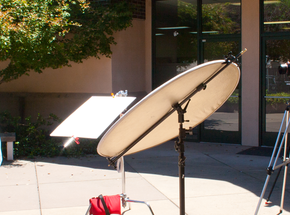 Using reflectors to light a person.