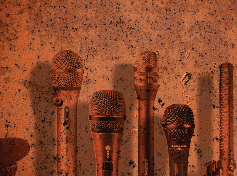 A line up of microphones